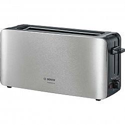 Hriankovač Bosch ComfortLine Tat6a803 strieborn... Dlouhá štěrbina, termostat s časovačem, držák na housky, retoasting, přihrádka na drobky, rozmrazov