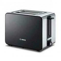 Hriankovač Bosch TAT7203 čierny/nerez... Automatické centrování chleba, rozmrazování a ohřívání, sklápěcí držák pro opékání housek.