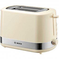 Hriankovač Bosch TAT7407 nerez/krémov... Pro 2 toasty, automatické centrování, vysoký zdvih pro snadné vyjmutí malého chleba, integrovaný nástavec na
