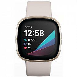 Inteligentné hodinky Fitbit Sense - Lunar White/Soft Gold Stainless... Chytré hodinky ,  akcelerometer, gyroskop, krokoměr, senzor okolního světla, se
