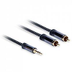 Kábel AQ 3,5mm Jack/2xRCA, M/M, 0,75m čierny (xdtjr007...