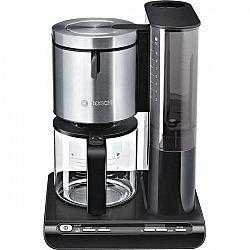 Kávovar Bosch Styline TKA8633 čierny/nerez... 10 šálků, příkon 1160 W, funkce drip stop, regulace a udržování teploty, systém pro optimální aroma.