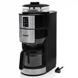 Kávovar Princess 249408... Skleněná konvice na kávu o objemu 0,75 l, LCD panel, časovač, integrovaný mlýnek na kávu.