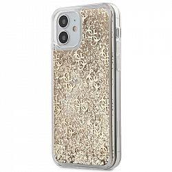 Kryt na mobil Guess 4G Liquid Glitter na Apple iPhone 12 mini zlatý...