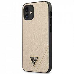 Kryt na mobil Guess Saffiano V Stitch na Apple iPhone 12 mini zlatý...