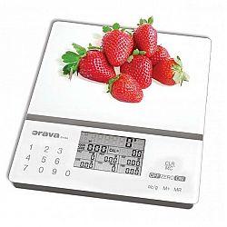 Kuchynská váha Orava EV-8 A sivá/biela... Kuchyňská váha s nutriční kalkulačkou, 99 uživatelských předvoleb