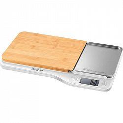 Kuchynská váha Sencor SKS 6501WH... 4 senzory pro vyšší přesnost vážení, váživost do 5 kg (rozlišení 1 g), ukazatel objemu vody a mléka.