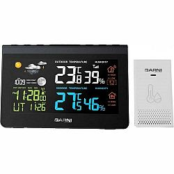 Meteorologická stanica Garni 610 Precise čierna... Meteorologická stanice, barevný LCD displej, čas (signál DCF-77), budík, meří teplotu i vlhkost, 5