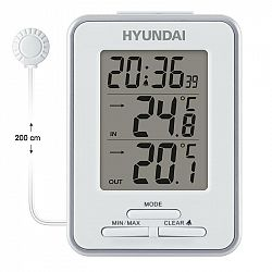 Meteorologická stanica Hyundai WS 1021 biela... Meteostanice - teploměr s drátovým venkovním čidlem, délka 2 m, čas, budík, max. a min. vnitřní/venkov