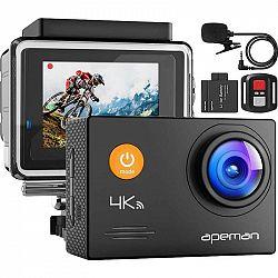 Outdoorová kamera Apeman A79 čierna... Outdoorová kamera 4K (3840x2160)/30 fps, 16 Mpx foto, voděodolnost do 40 m (s pouzdrem), úhel záběru 170°, exte