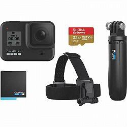 Outdoorová kamera GoPro Hero 8 Black + bundle... Outdoorová kamera + čelenka+ Shorty + baterka + SD karta, 4K (3840x2160)/60 fps, 12 Mpx foto, voděodo