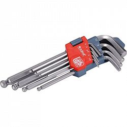 Sada náradia Extol Premium 6609... Sada 9 ks imbusový klíčů 1,5-10mm se zakončením ve tvaru kuličky pro práci pod úhlem až 30°. Vyrobeno z kvalitní tv