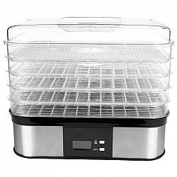 Sušička ovocia Guzzanti GZ 508 nerez... LED display pro nastavení teploty sušení 40 - 70°C, digitální časovač 1 – 36 hodin, 5 ks sít.